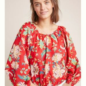 """NWT Anthro Maeve Red Floral """"Lake Blouse"""""""